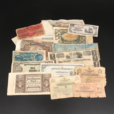 Thirty-One Vintage Foreign Currency Notes