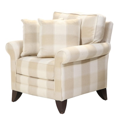 """Sherrill """"Precedent"""" Plaid Upholstered Lounge Chair"""