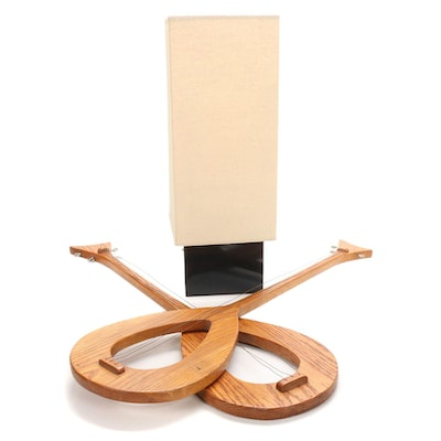 Mid Century Modern Style Table Lamp and Wall Hanging Decor