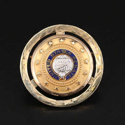 14K United States Senate Brooch with Enamel
