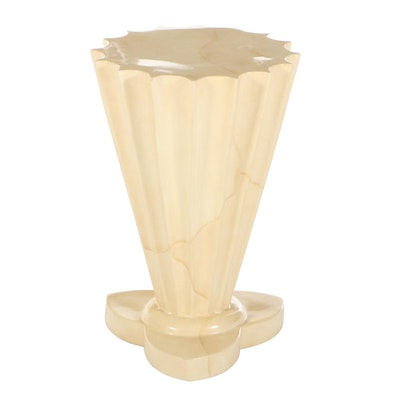 Fluted Pedestal Table with Marbleized Finish
