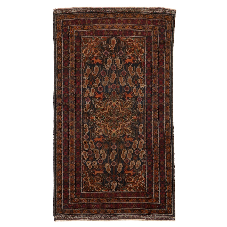 3'7 x 6'4 Hand-Knotted Persian Baluch Area Rug