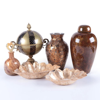Gold and Brown Tone Glass and Ceramic Vases and Other Décor