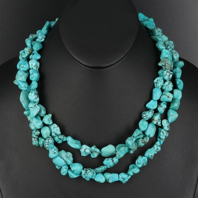 Sterling Silver Howlite Mulit-Strand Necklace