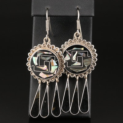 Sterling Silver Black Onyx and Abalone Inlay Earrings