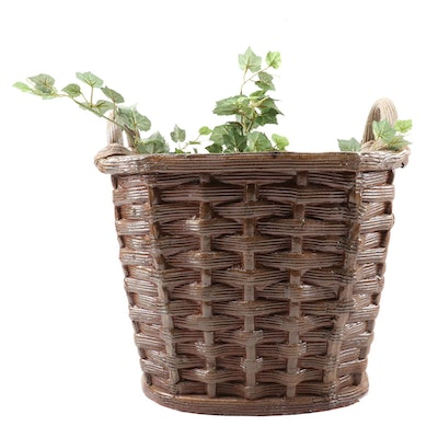 Glazed Earthenware Basket Planter
