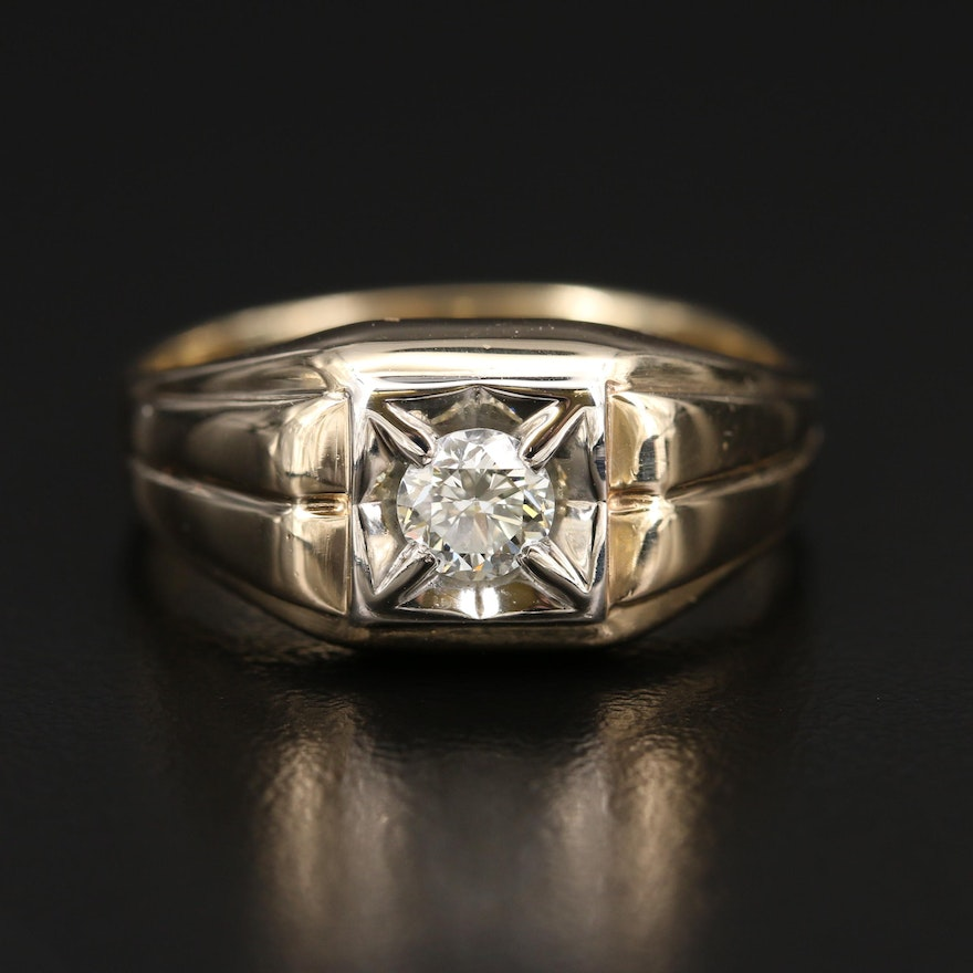 10K and 14K 0.35 CT Diamond Solitaire Ring