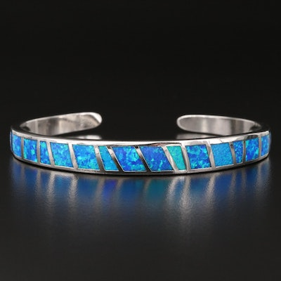 Sterling Silver Opal Inlay Cuff