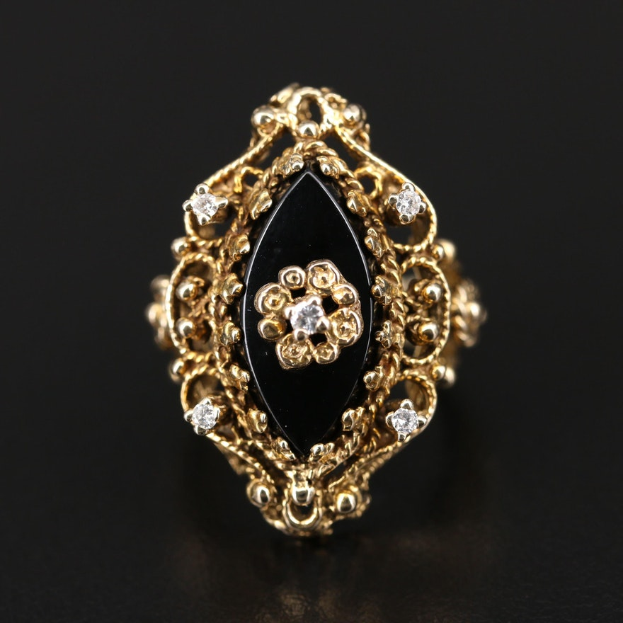 14K Black Onyx and Diamond Openwork Ring