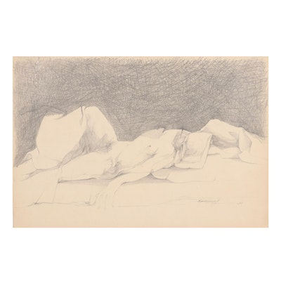 John Tuska Figural Graphite Drawing, 1968