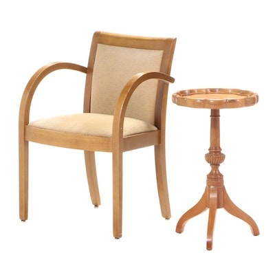 Jasper Seating Beech Armchair with Scalloped Pedestal Table