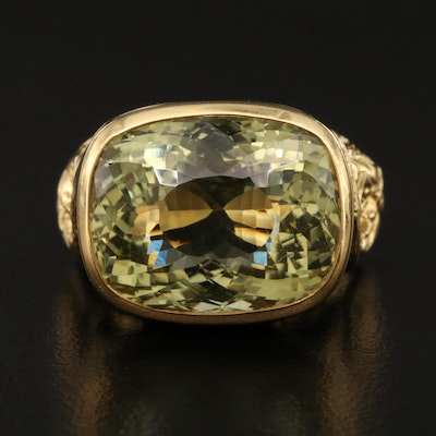 18K 19.85 CT Citrine Foliate Ring