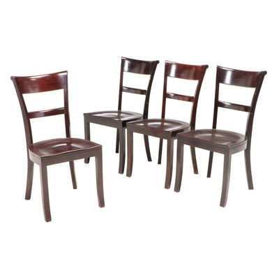 Four Crate & Barrel Mahogany Dining Chairs