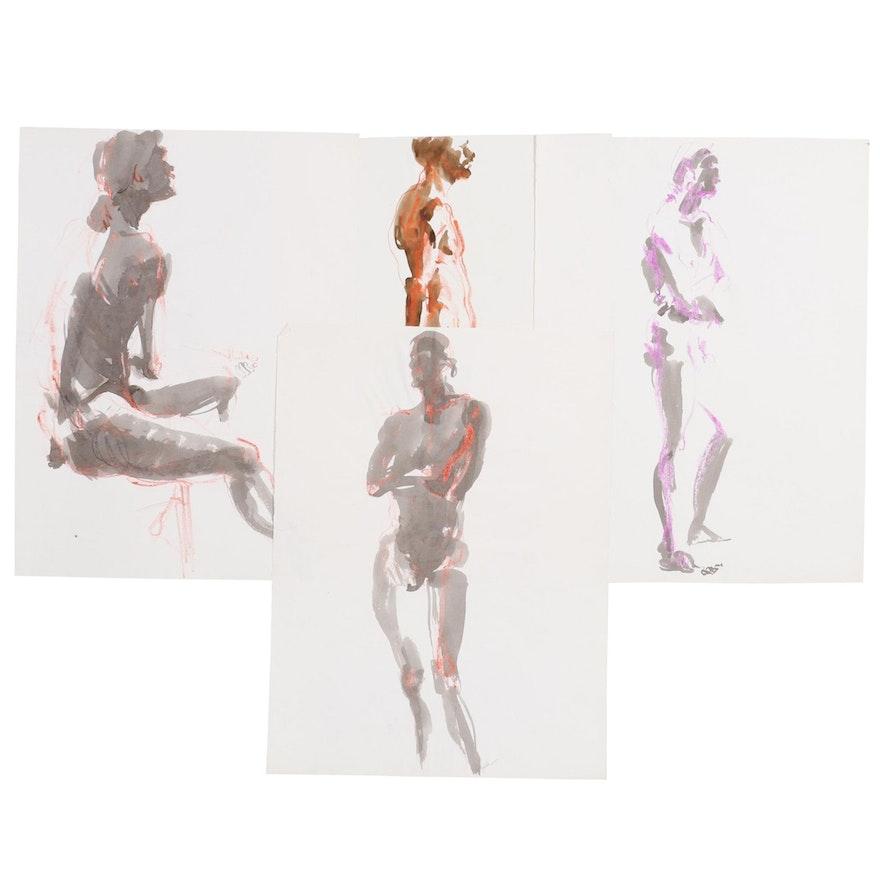 John Tuska Mixed Media Figure Drawings, Late 20th Century
