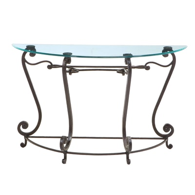 Scrolled Wrought Iron and Glass Demilune Console Table