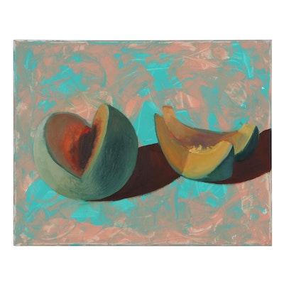 "Kaz Ooka Oil Painting ""Cantaloupe,"" 21st Century"