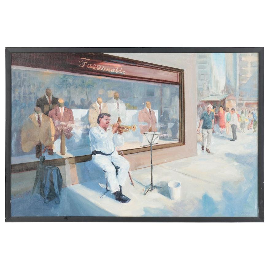 """Kaz Ooka Oil Painting """"Faconnable,"""" 2007"""
