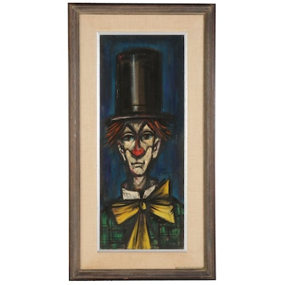 "Ozz França Oil Painting ""Sad Clown,"" Mid to Late 20th Century"