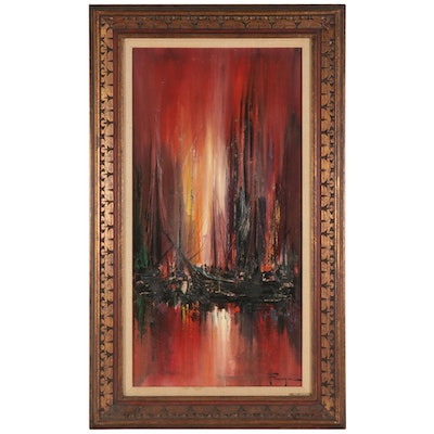 "Ozz França Impasto Oil Painting ""Red Harbor,"" Mid to Late 20th Century"