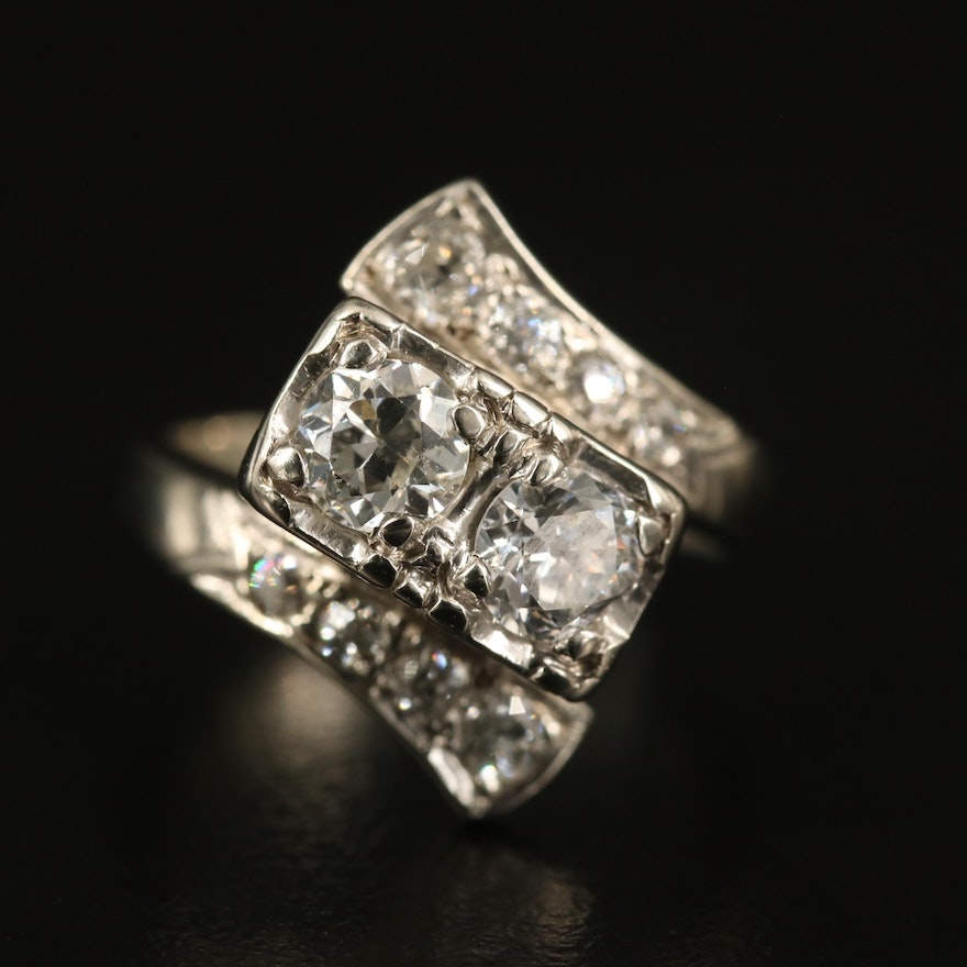 14K 1.32 CTW Diamond Bypass Ring with Vintage Components