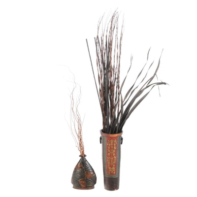 David A. Millett Painted Terracotta and Metal Floor Vase with Reed Arrangements