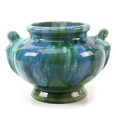 Artisan Crafted Drip Glazed Stoneware Amphora Vase