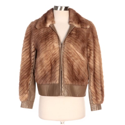 Chevron Pieced Blonde Mink Fur and Leather Jacket by Maas Brothers