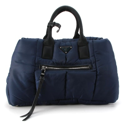 Prada Test Bomber Tote in Navy Blue Quilted Nylon with Leather Trim