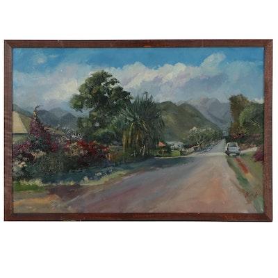 """Kaz Ooka Oil Painting """"Street of Kaimuki, Hawaii"""""""