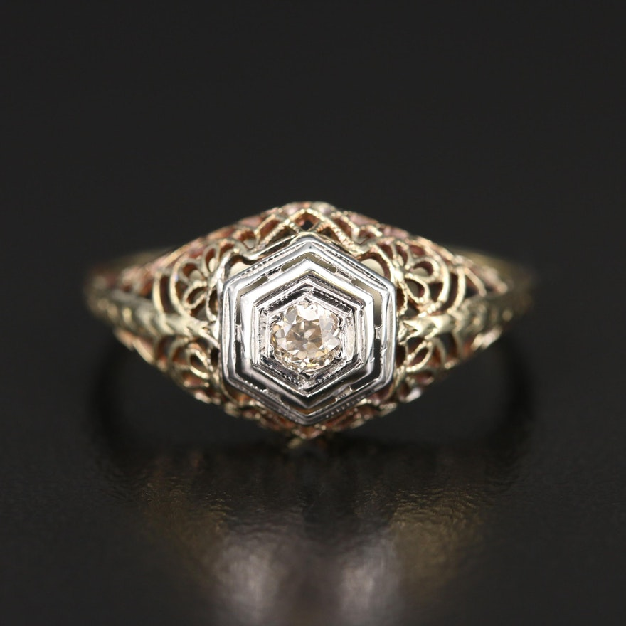 Edwardian 14K Diamond Ring