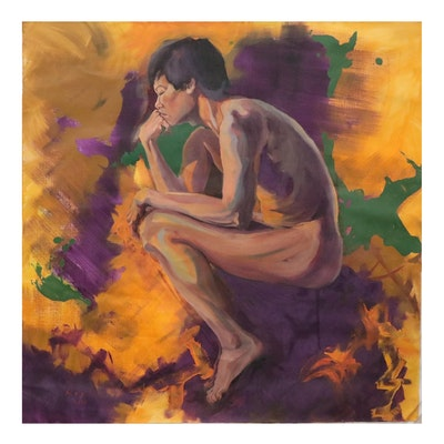 Kaz Ooka Oil Painting of Thinking Nude, 2010