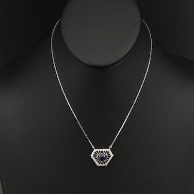 14K Calibre Sapphire and Diamond Pendant Necklace