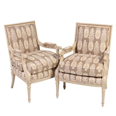 Pair of Hickory White Louis XVI Style Painted Wood Armchairs