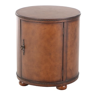 Faux Leather Cylinder Storage End Table