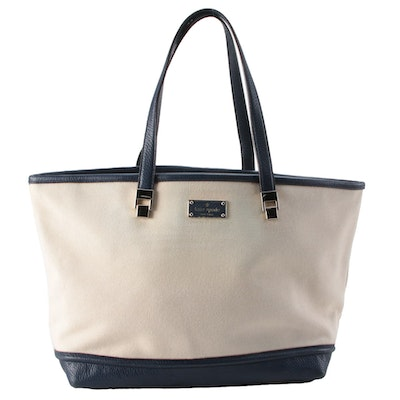 Kate Spade Canvas Tote with Blue Leather Trim