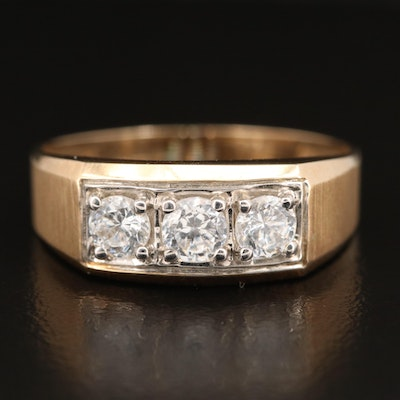 10K Cubic Zirconia Three Stone Band