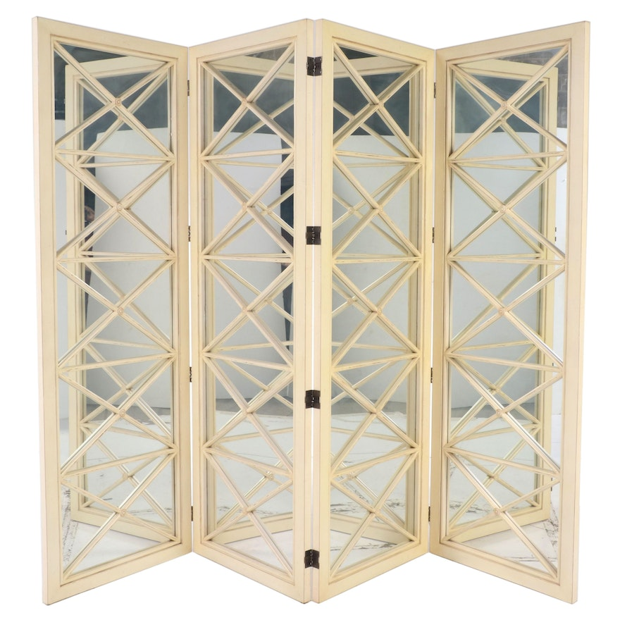Ardley Hall Painted Wood 4-Panel Mirrored Room Divider