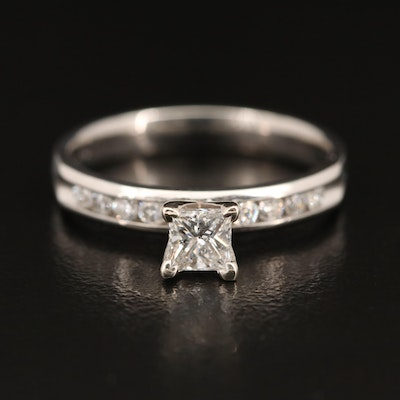 Platinum Diamond Ring with 14K Accent