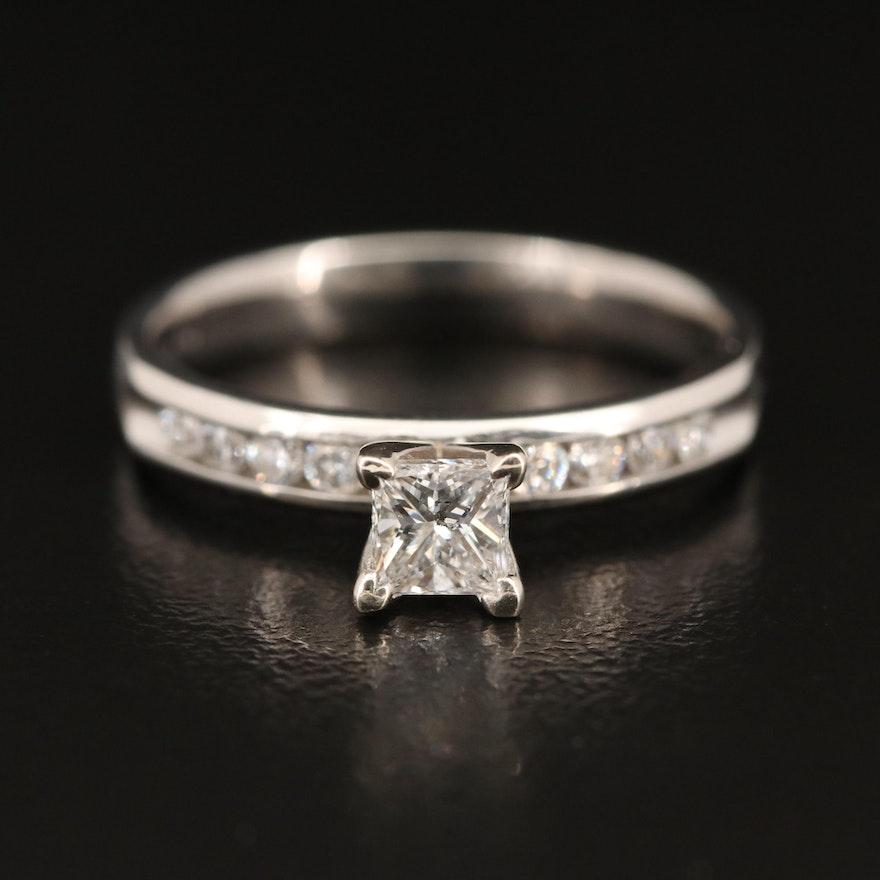 Platinum Diamond Ring with 14K Accent