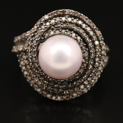 14K Pearl and Diamond Multi-Row Swirl Ring