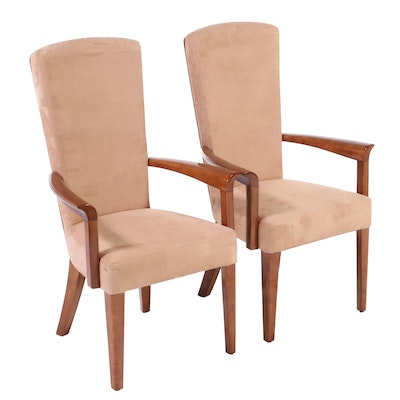 Pair of David A. Millet Upholstered Maple Armchairs
