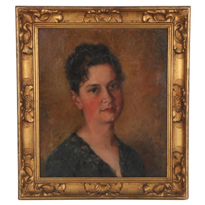 S. Mary Norton Portrait Oil Painting of a Woman, 1886