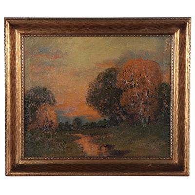 Ernest Fredericks Autumn Landscape Oil Painting