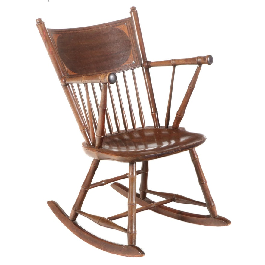 Robert Mitchell Marquetry, Mother-of-Pearl Inlaid, and Simulated Bamboo Rocker