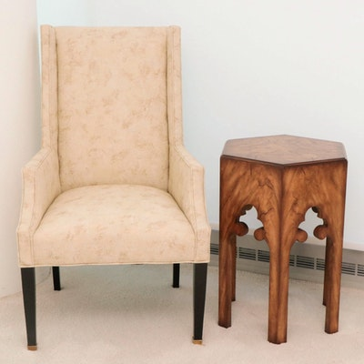 Printed Velveteen Wingback Chair with David A. Millet Arabesque Side Table