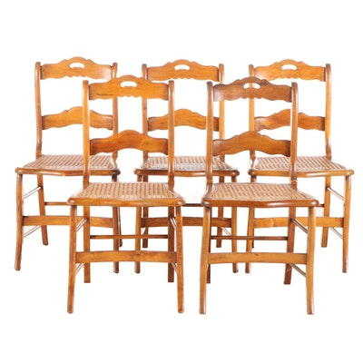 Five American Classical Ladderback Side Chairs, Mid-19th Century