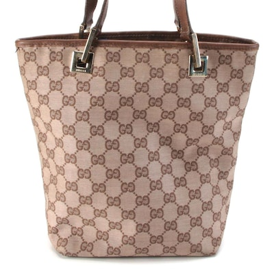 Gucci Small Bucket Tote Bag in GG Canvas and Brown Leather