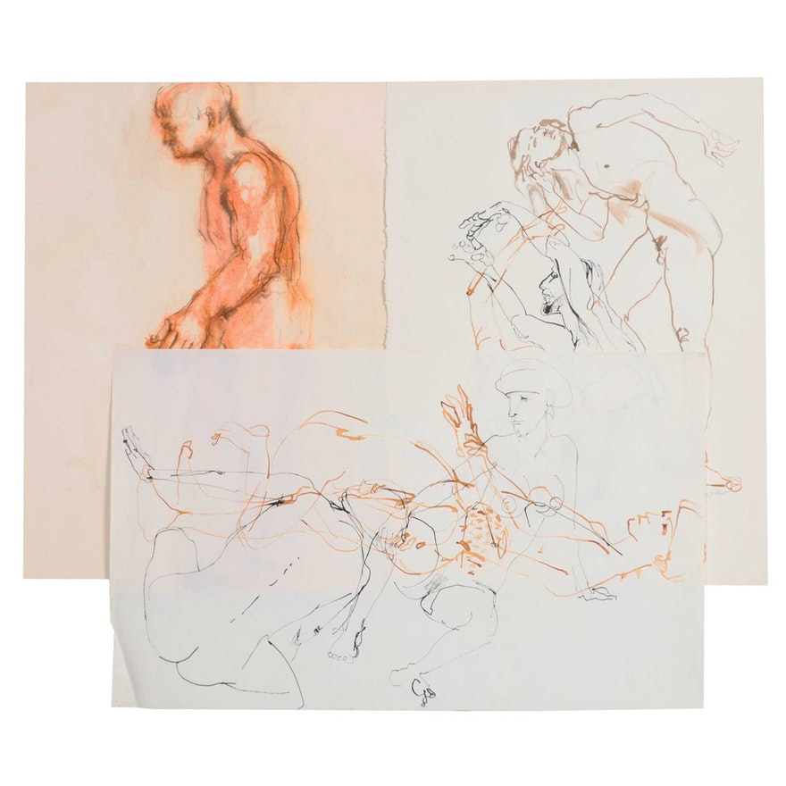 John Tuska Figural Nude Ink and Graphite Drawings, Mid-Late 20th Century