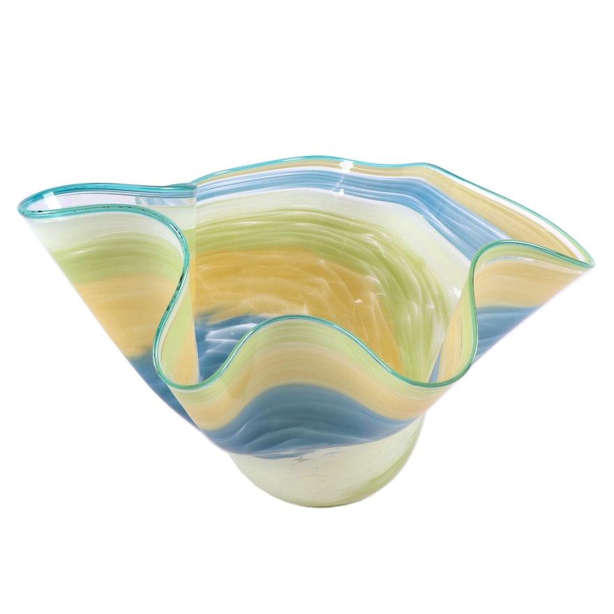 Blown Glass Centerpiece Handkerchief Bowl