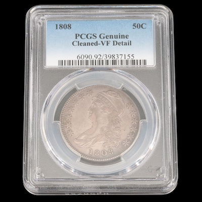 PCGS Graded VF Detail (Cleaned) 1808 Capped Bust Silver Half Dollar